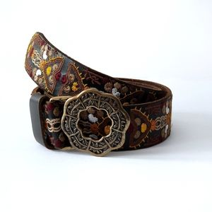 Lucky Brand | Embroidered Floral Leather Belt